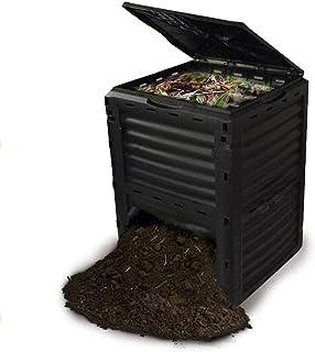 花园堆肥箱,大容量室外垃圾箱,由90%的再生塑料制成,80加仑(300升),易于组装,快速产生肥沃的土壤,黒