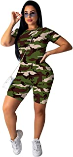 AKK Womens 2 Piece Outfits Sets Tracksuit Casual Short Sleeve T Shirts Bodycon Shorts Pant Rompers