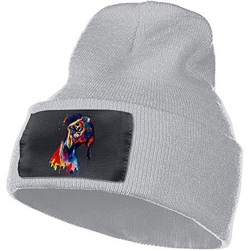 Acuarela Dachshund Pintura Hombres Mujeres Invierno Suave Cálido Sombrero de Punto Grueso Gris Gorro Gorro