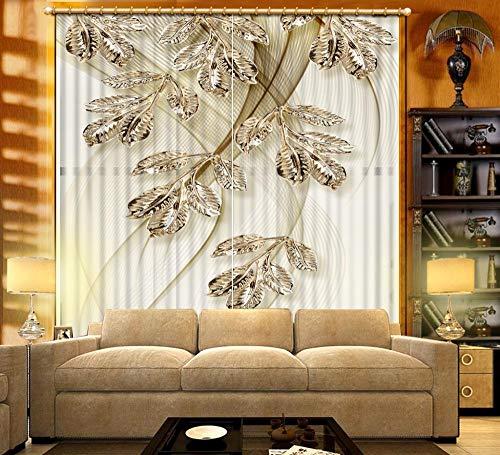 EZEZWSNBB 3D Verdunkelungsvorhänge- Silbernes Blatt -Wärmedämmender Vorhang aus 100% Polyester,Energiesparen Lärm reduzieren Behandlung für Schlafzimmer Wohnzimmer Kinderzimmer Vorhänge-150x166cm