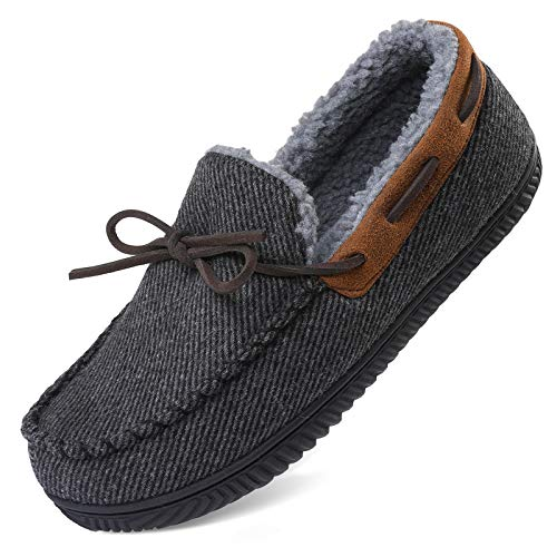 ULTRAIDEAS Men's Comfort Moccasin Slippers Memory Foam House Shoes with Anti-Skid Rubber Sole, Indoor/Outdoor (Large, 11 US, Dark Gray)