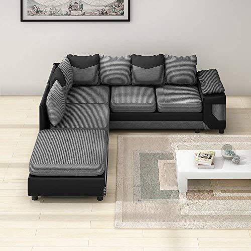 AYAYA Jumbo Cord Stoff Kunstleder 3-Sitzer Und 2-Sitzer Set Ecksofa Große Fußschemel Gruppe Sofa Couch,Black and Grey