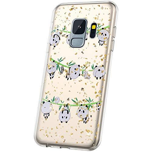 JAWSEU Compatible avec Coque Samsung Galaxy S9 Transparente Silicone Glitter Paillette Brillant Belle Coloré Motif Slim Souple TPU Cristal Clair Housse per Galaxy S9,Panda