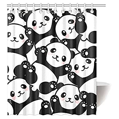 InterestPrint Animal Decor Shower Curtain, Baby Panda Bears Cartoon Polyester Fabric Bathroom Shower Curtain Set with Hooks, 60 X 72 Inches