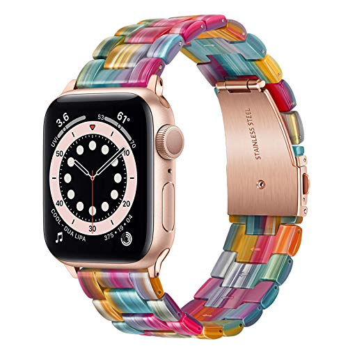 TRUMiRR Reemplazo para Apple Watch 38mm 40mm/Apple Watch SE Correa, Pulsera de Hebilla de Acero Inoxidable con Banda de Reloj de Resina Femenina para Apple Watch SE/Apple Watch Series 6 5 4 3 2 1
