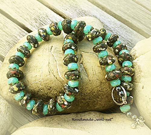 Halskette Perlenkette Kroboperlen Rondelle Glasschliffperlen türkis braun mehrfarbig, Gesamtlänge: ca. 42,5 cm