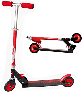 ChromeWheels Scooter for Kids, Deluxe Kick Scooters 4 Adjustable Height 2 Wheels Foldable, Best Gifts for Boys Girls, Age 3-8 Years Old, 110lb Weight Limit, Red