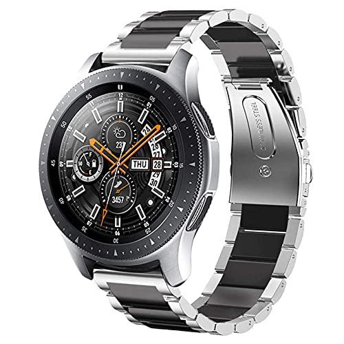 WOLLPO Kompatibel mit Galaxy Watch 42mm Armband, Galaxy Watch Active/Active2 40mm 44mm Armband, Galaxy Watch 3 41mm Armband, Gear S2 Classic Armband, 20mm Edelstahl Metall Ersatzband (Silber/Schwarz)