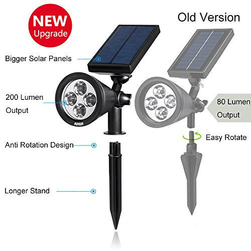 AMIR 2 in 1 Solar Spotlights, Upgraded Solar Garden Light Outdoor, Waterproof 4 LED Landscape Lighting, Solar Wall Light with Auto On/ Off for Yard Driveway Pathway Pool (2 Pack, Changing Color)