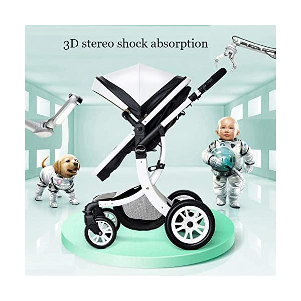 JXCC Baby Stroller Ultra Light Folding Child Shock Absorber Trolley Can Sit Half Lying 0-3 years old,15kg maximum -Safe And Stylish B JXCC 1. {All seasons} - Three-sided mesh design, the awning can be adjusted at multiple angles to easily cope with the sun 2. {55CM high landscape} - Baby can stay away from hot air surface, car exhaust, for baby's health 3. {3D Stereo Vibration} - X-frame design, evenly dispersing the upper weight, front wheel built-in suspension, rear wheel frame suspension 8