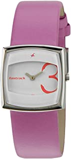 Fastrack Basics Women's White Dial Leather Band Watch - T6013SL01