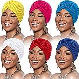 6 Piezas de Gorro Turbante para Mujeres Gorro Suaves de Algodón con Turbante Gorro Plisado Gorro de Pérdida de Cabello (Rojo de Vino, Azul, Rojo de Rosa, Blanco, Azul Real, Naranja)