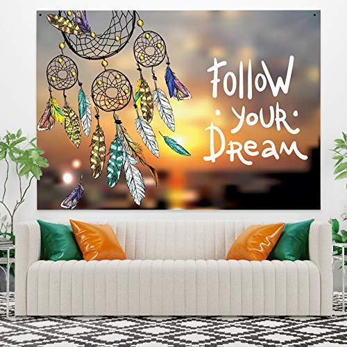 Miueapera 60x40 inch Follow Your Dream Tapestry Polyester Mooie Dreamcatcher Muurhangende woonaccessoires voor wanddecoratie Plafondbedekking Gordijn Scheidingswand Gift voor familievriend
