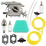 Harbot Carburetor Gasket Fuel Line Pimer Bulb Air Filter for Poulan 2150LE Predator 2155 2175 2350 2375 2375LE 2450 2550 2550LE 2550SE 262 PP210 PP260 PPB1838LE S1634 Snapper S1838 SM4018 Chainsaw