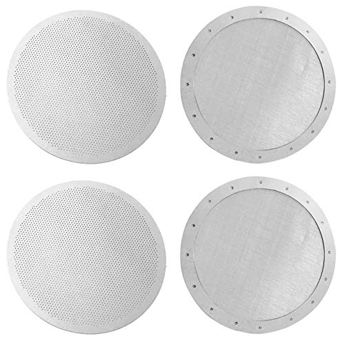ACKLLR 4 Pack Premium Reusable Coffee Filters for Old/New Aeropress Aerobie Coffee Makers, 2 Types Washable Stainless Steel Metal Mesh Fine Micro-Filters, Silver