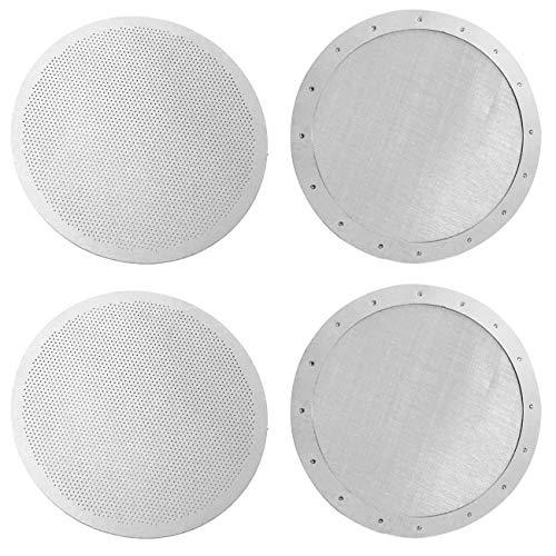 CKANDAY Paquete de 4 filtros de café reutilizables premium para cafeteras Aeropress Aerobie antiguas/nuevas, 2 tipos de microfiltros finos de malla metálica de acero inoxidable lavables, plateado