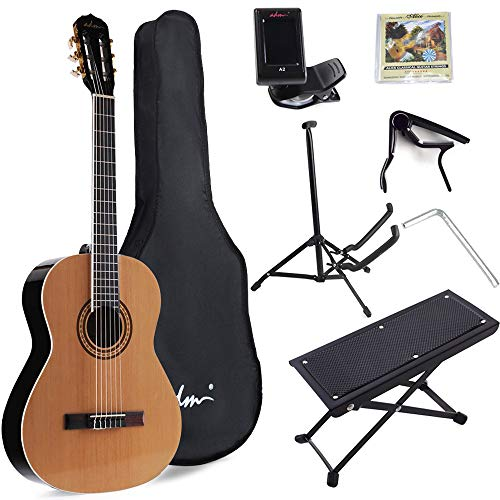 ADM Full Size Classical Nylon Strings Acoustic Guitar with Gig Bag, E-tuner, Strings, Stand, Student...