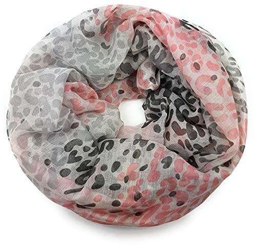 Feelinko Paisley Mix Leopard Schal Loop Halstuch Schlauchschal Rundschal Tuch Damen Women rosa grau