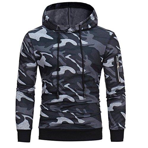 manadlian Veste Homme,Sweats à Capuche Hommes Camouflage Hoodie Sweat à Capuche Tops Veste Manteau Outwear À Manches Longues (Gris, 2XL)