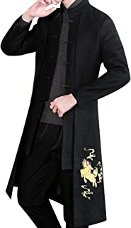 XINHEO Men Tai Chi Dragon Print Stand Collar Pea Coat with Pockets