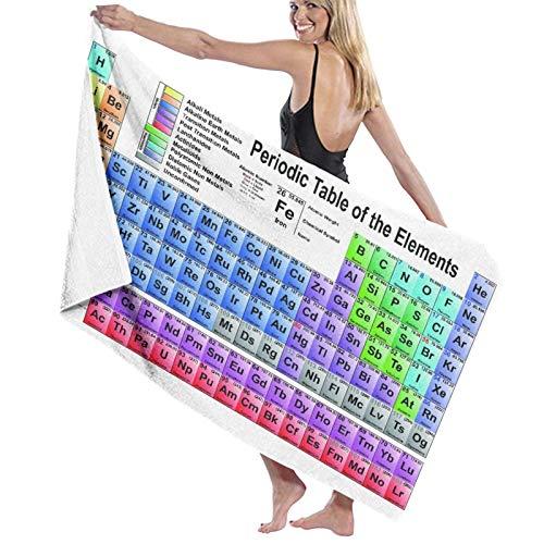 Grande Suave Toalla de Baño Manta,Science Freak Chemistry Lovers Tabla de Elementos Coloridos para Aprender imágenes Divertidas,Hoja de Baño Toalla de Playa por la Familia Viaje Nadando,52' x 32'