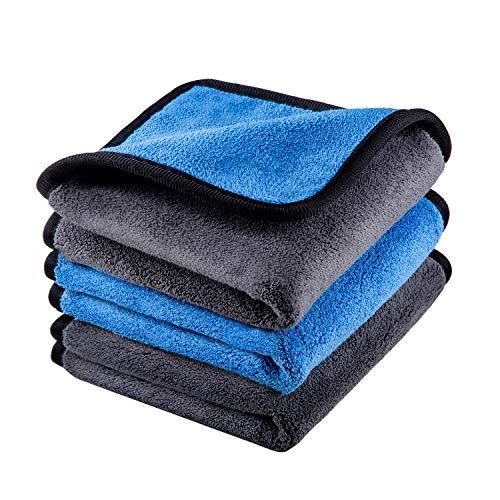 AUTO GUYS Microfasertuch Autopflege, 3PCS/ 30x30CM/ 840GSM Geeignet zum Waschen, Trocknen, Polieren und Wachsen von Autos oder Motorrädern, Reinigen von Glas, Möbeln oder Fußb Grau + Blau