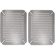 mDesign Adjustable Kitchen Sink Dish Drying Mat/Grid - Plastic Sink Protector - Cushions Sinks, Stemware, Wine Glasses, Mugs, Bowls, Dishes - Quick Draining, Contours to Sink - 2 Pack - Graphite Gray