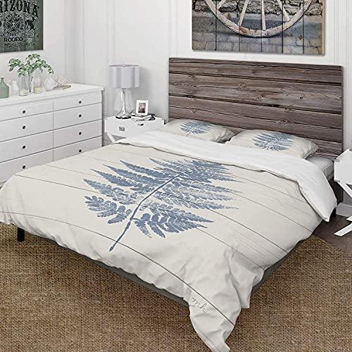 7788 Juego de cama de 3 piezas de microfibra ultra suave, diseño de helecho azul en madera I Cabin & Lodge