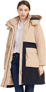 ZYDP Womens Fashion Down Coat Hooded Long Parka Jackets Knee Length Winter Classic Coat Jacket (Color : Khaki, Size : L)
