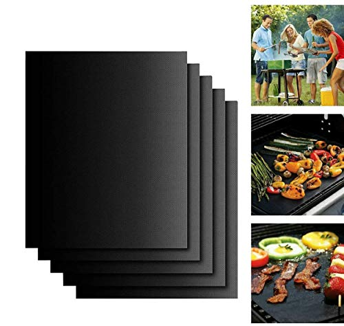 Set di 5 Stuoie Antiaderenti per Grill, Carryme Tappetino Massima Qualità per Stuoie Grigliata, Liner Forno, Mat Cottura - Riutilizzabile lavastoviglie Stuoie cucina sicura per Griglia Barbecue Grill
