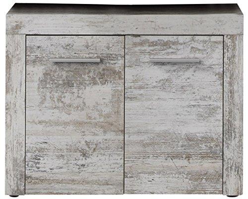 trendteam smart living Badezimmer Waschbeckenunterschrank Unterschrank Cancun Boom, 72 x 56 x 34 cm in Pinie Canyon White (Nb.) mit Siphonausschnitt