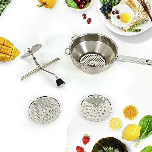 OUKANING Moulin à Fruits et légumes en Acier Inoxydable,Moulin de Nourriture en Acier Inoxydable légumes purée Fruits purées et soupes Pro pour Mixer des légumes, des Fruits avec 3 grilles.