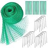 Vogelschutznetz 4 x 10 m Grünes Vogelnetz Teichnetz Baumnetz für Pflanzenschutz Gartennetz Obstbaumnetz Erbsenetz mit 30 Stück Kabelbindern und 15 Stück U-förmigen Stiften