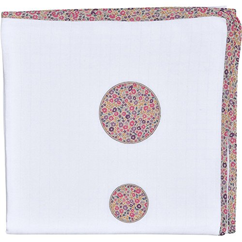 RED CASTLE Lange Fine Vintage 120X120Cm, Liberty Baby Blanc Neige/Liberty Rose