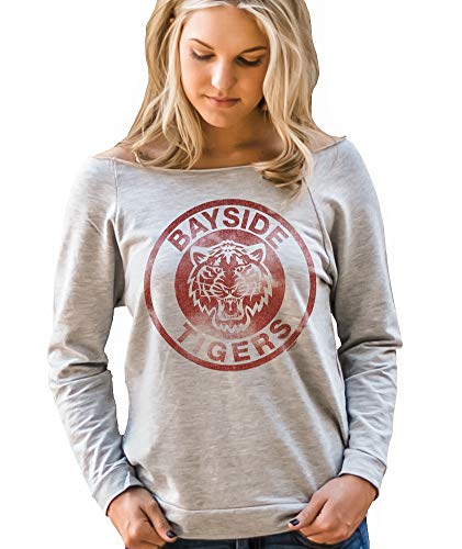 Superluxe Clothing Bayside Tigers Womens Vintage Style 80s 90s TV Kelly Kapowski Raw Edge Off The Shoulder Top, Heather Grey, X-Large