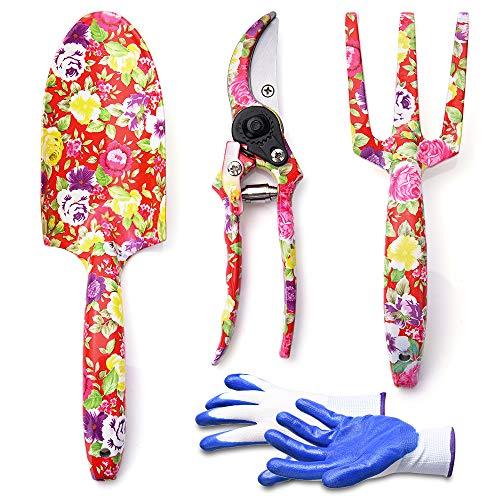 WOLFWILL Gartenwerkzeug-Set-3-teiliges Aluminium-Gartengeräte mit Handschuhe für Gartenliebhaber