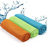 BELLE VOUS Toalla de Enfriamiento (3 Piezas) Toallas de Microfibra (95X30cm) para Hombres y Mujeres - Toalla Gym Suave Fría para Bandana, Toalla Gimnasio...