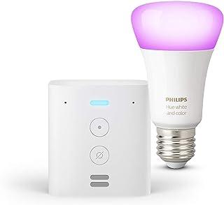 Echo Flex + Lampadine intelligenti a LED Philips Hue Color, compatibili con Bluetooth e Zigbee (non è necessario un hub), ...