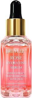 Rose Face Serum, BREYLEE Moisturizing Serum Hydrating Face Serum Rose Essence with Rose Petals Extract Hyaluronic Acid Trehalose B5 Vitamin Alcohol Free Facial Skin Care(17ml,0.6fl oz)