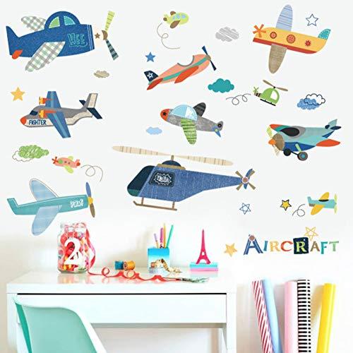 Taoyue Cartoon Vliegtuig muursticker voor kinderkamer kinderkamer muurtattoos muurschildering DIY baby kamer decor kinderkamer decoratie
