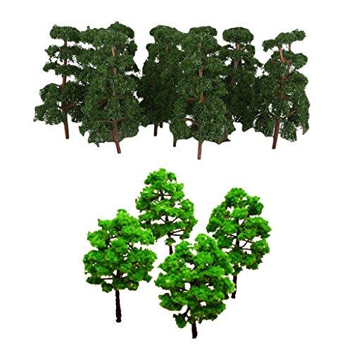 chiwanji Model Baum Zug Set Plastik Stamm Landschaft HO N 10stü+20 Stü Landschaft Landschafts Zugmodell Pinien Skalieren 1/150 Dunkelgrün