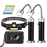 Array Stars 2 Grill Lights and 1 Headlamp for BBQ - Strong Magnet Base - Water & Heat Resistant - Rechargeable Headlamp (1 Storage Box and 6 Batteries Included)