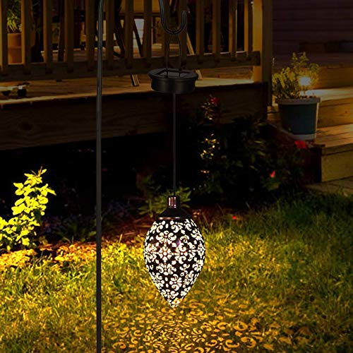 Farol solar para exterior, farol de jardín, de metal, lámpara solar decorativa colgante, farol de jardín