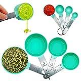 Juegos de 8 Cucharas Medidoras, Taza y Cuchara de Medición con Mango de Acero Inoxidable, Medidores Cocina para Medir...