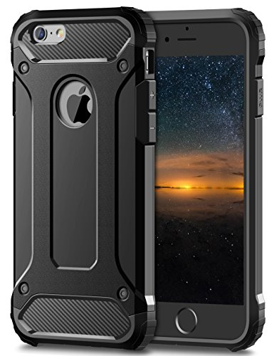 Coolden iPhone 6S Hülle, Premium [Armor Serie] iPhone 6 Outdoor Stoßfest Handyhülle Silikon TPU + PC Bumper Cover Doppelschichter Schutz Hülle für iPhone 6/6S (Schwarz)