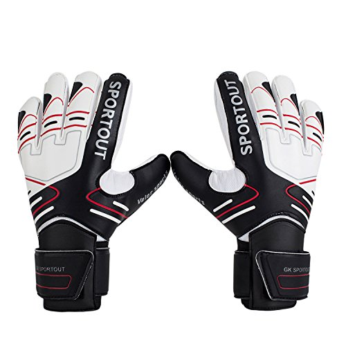 Sportout Youth Adult Goalie Goalkeeper Gloves, Strong Grip for The Toughest Saves, With Finger Spines to Give Splendid Protection to Prevent Injuries (7, Black)