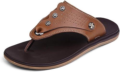 YoiGn Herren Sandale Single Schuhe Stiefelschuhe Sommer Herren Hausschuhe Wearable Anti-Rutsch-Clip Toe braun Sandalen Im Sommer frisch und atmungsaktiv (Farbe   Braun, Größe   43 1 3 EU)