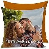 Cuscino Personalizzato con Foto, con Imbottitura, Quadrato, 40x40 cm, Colore a Scelta - Arancione