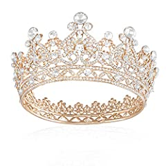 👑Material - Vintage crowns for women is alloy and crystal bright 👑Size - The length of crown for women is 13cm,height is 6.7 cm. 👑The Gorgeous Crown is perfect for girls,women,bride.wedding birthday party,Halloween costume 👑With Tiara and makes your ...