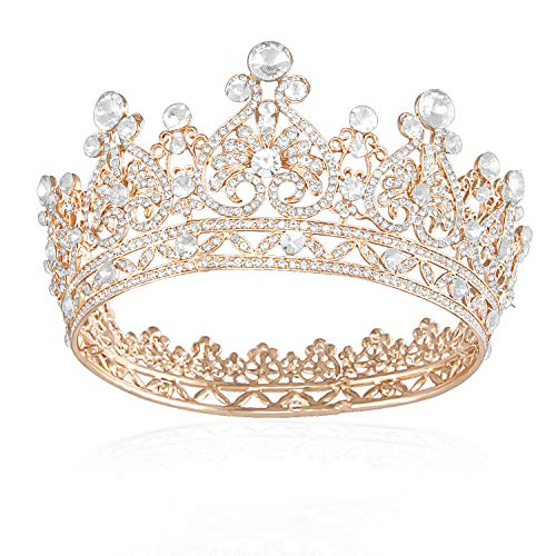 JOYPEA Tiara Crown Crystal Tiara For Women Gold Bridal Crown Wedding Birthday Prom Queen Pageant Hair Accessories
